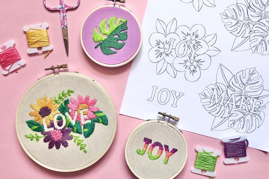 Negative Space Embroidery Designs