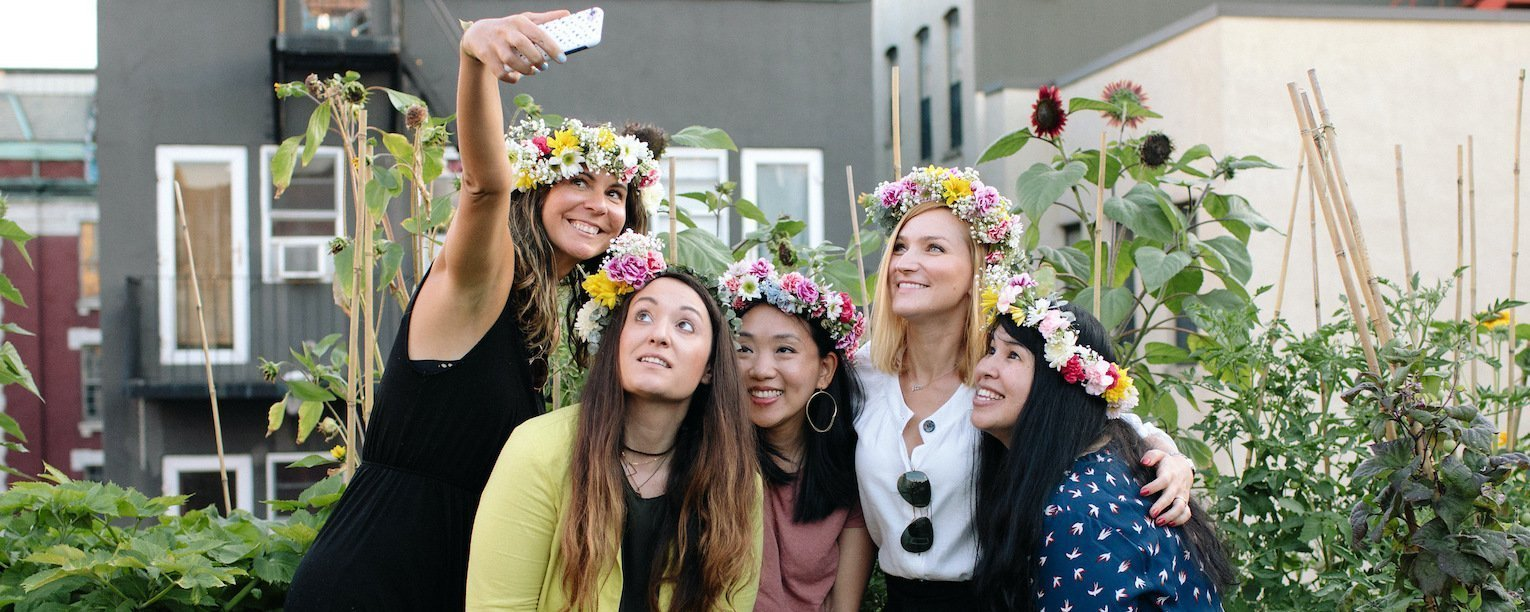 Flower crown selfie on Grow rooftop with Gina and friends