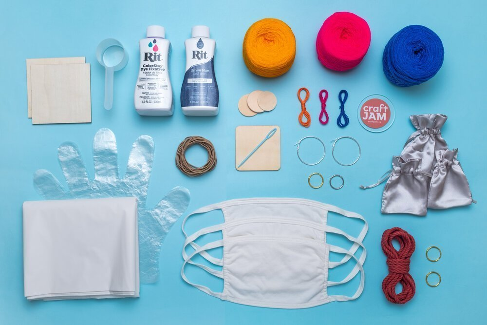 Only post-COVID: The kit for our very popular mask tie dye workshop. Photo: Izzy Dow for CraftJam (Photo: Izzy Dow for CraftJam)